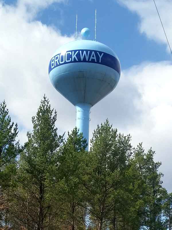 picture of the water tower in the town of brockway wisconsin